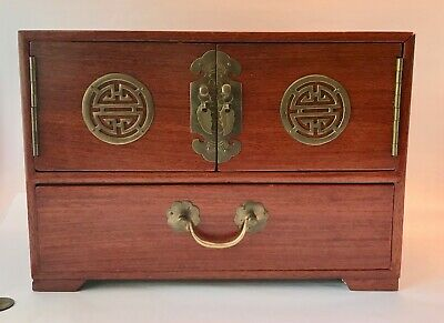 CHINESE ROSEWOOD Jewelry Box BRASS Detail & HANDLES Fabric Lining 12""