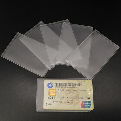 Lot Plastic Transparent Vertical ID Credit Card Holder Protector Case Cover New