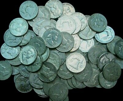 100 Franklin Half Dollars , $50 Face 90% Silver Coin Lot, Circulated, 007