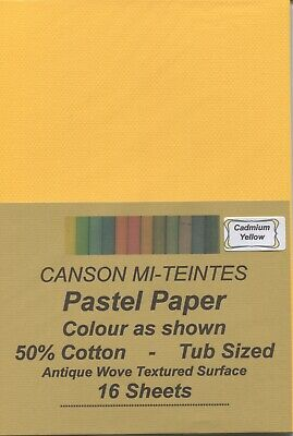 """A pack of 16 sheets """"CANSON MI-TEINTES PASTEL PAPER"""" Colour """" CADMIUM YELLOW """" ."""
