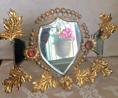 Antique 19thC French Chateau Gilded Mirror Tryptic Bejewelled Flowers Crown Top