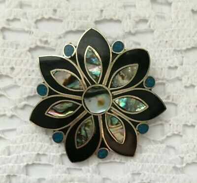 Mexican Brooch Pendant Alpaca Silver Abalone MOP Vintage Flower Pin 1 3/8""