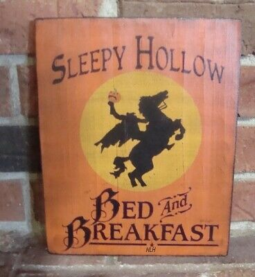 """Primitive Style Halloween Witch Sign """"Sleepy Hollow Bed And Breakfast"""" Hp"""