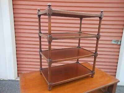 Antique 1940s Mahogany Curio Display Shelf Rack Vintage