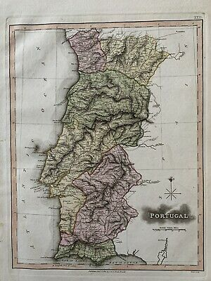 1813 Portugal Beautiful Original Antique Hand Coloured Map By Samuel Neele
