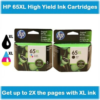 HP 65XL High-Yield Single Ink Cartridge in Box (Black or Tri-Color), EXPIRE 2021
