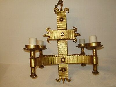 Antique  Gothic Gold Gilded 4 Arm Iron Chandelier #1572