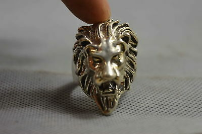 Collectable Old Chinese Ancient Miao Silver Carve Mighty Lion Head Amulet Ring