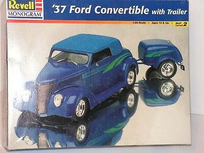 Revell #85-4275 1/24 37 Ford Convertible With Trailer Open/fsi