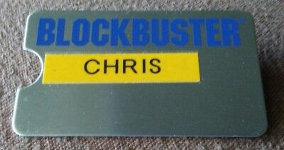 Vintage BLOCKBUSTER VIDEO Employee  Name Tag metal Badge RARE w/ p-touch name