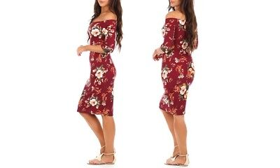 Women's Open Shoulder Dress Red Floral Print Stretch Bodycon Small Maternity NEW