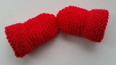 Baby's Hand Knitted Mittens, Red, Acrylic Wool, 0-3 Months New