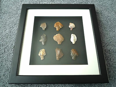 1Paleolithic Arrowheads in 3D Picture Frame, Authentic Artifacts 70,000BC (T070)