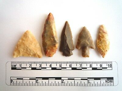 Neolithic Arrowheads x 5, High Quality Selection of Styles - 4000BC - (2427)