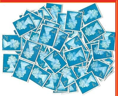 100 x 2nd Class Royal Mail Stamps; Unfranked, No Gum, Off Paper Face value £61