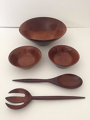 Mid Century Modern Vintage Haiti Mahogany Wood Salad Bowl Serving 5 Pc Set
