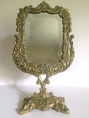 Vintage Neo Classical Cast Solid Brass Ornate Floral Vanity Top Make Up Mirror