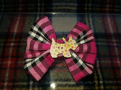 NEW UNIQUE CHILDRENS  2.5 inch PINK TARTAN COTTON FABRIC BOW HAIR CLIP
