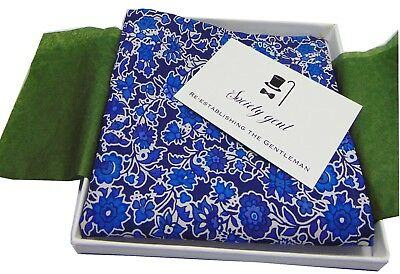 Luxurious Handmade Liberty of London Teal Floral Pocket Square Double Hemmed