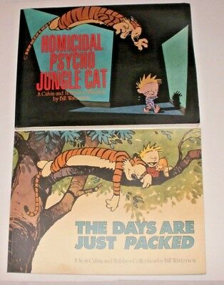 2 X Books Homicidal Psycho Jungle Cat & The Days Are Just Packed Calvin & Hobbes