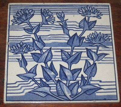 Unusual English Arts & Crafts Blue & White Tile Circ 1880S