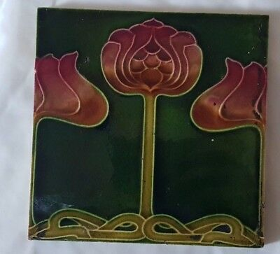 Gorgeous Floral Art Nouveau Majolica Antique 6 Inch Tile