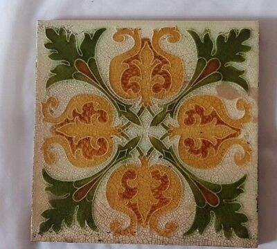 Pilkington Symmetrical Majolica Art Nouveau Floral Antique 6 Inch Tile