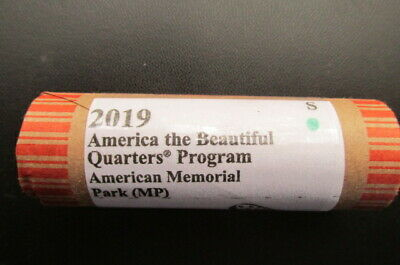 2019-S American Memorial Park (MP) ATB Unc. Quarter: 40 Coin Roll. ID GN
