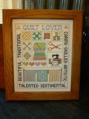 "2003 Counted Cross Stitch Sewing Quilt Sampler Oak Frame 11"" X 13"""