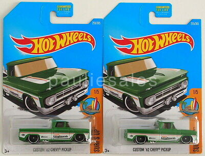 2017 Hot Wheels #255 LOT OF 2 Surf's Up Custom '62 Chevy Pickup Green