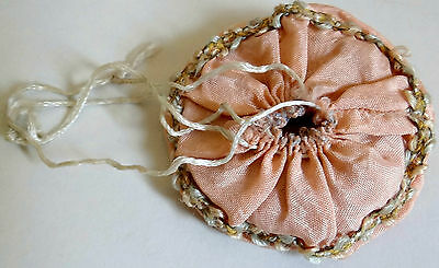1800s Antique Victorian Powder Compact Satin Drawstring Pouch Museum Quality Vtg