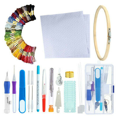 Trendy Embroidery Pen Knitting Sewing Tool Kit Punch Needle Set + 100 Threads V1