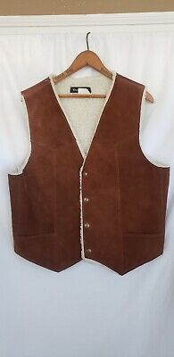 Steer Brand Vest Sherpa Leather Western Brown Trucker Made USA Size XL Vintage