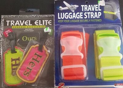2X Travel Safety Luggage Packing Suitcase Strap Baggage Bag Belt & Luggage Tags