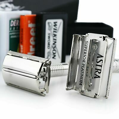 Chrome Plated DE Safety Twist Open Butterfly Shaving Razor for Men Ready to Use