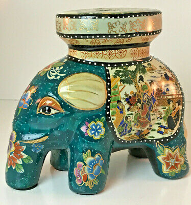 """Chinese Oriental Porcelain Elephant Plant Stand Figurine 9"""" Hand Painted"""