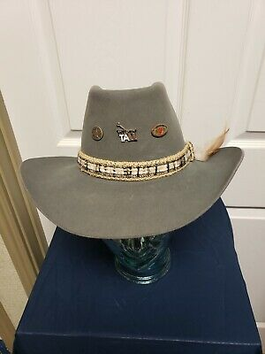 8579adefaa069 Resistol Gray Cowboy Hat 7 1 8 Hat Band Beads Feather 3 Hat Pins Rockabilly