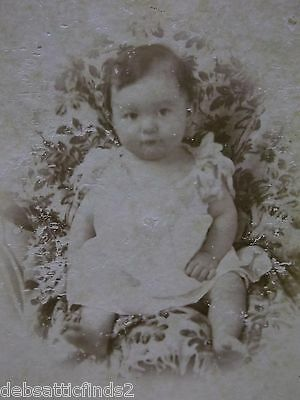 Antique Cabinet Photo-Darling Barefoot Baby Boy in Frilly Dress-Flowered Blanket