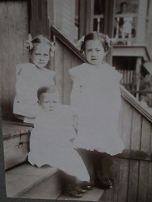 Antique Cabinet Photo-Cute Kids,Siblings on Steps,Girl,Boy,Pigtails,Fashion,Bows