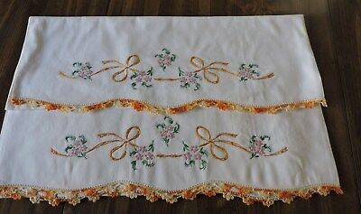Vintage Pillowcases. Set Of Two.  Flowers And Ribbons.  Scalloped Crochet Edge.