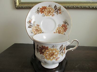 Queen Anne England Bone China Cup And Saucer Flowers