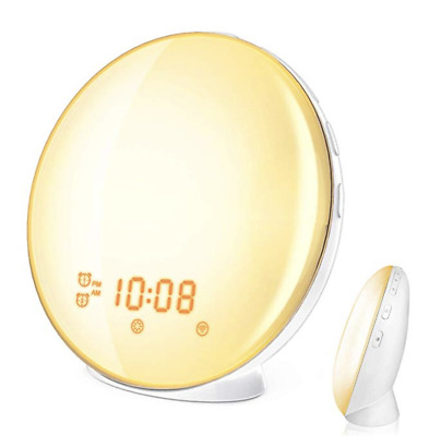 Wake Up Light, HoMii Alarm Clock Compatible with Alexa and Google Home, 7 Colors