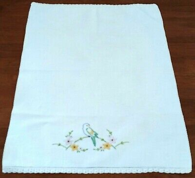 Vintage Mid Century 60s WHITE Cotton Waffle BIRD FLORAL Embroidery GUEST TOWEL