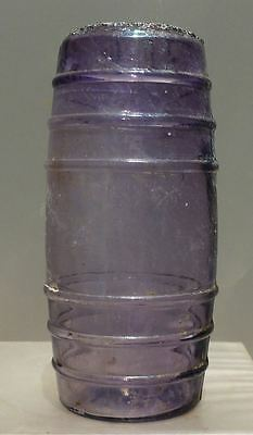 SUNROOM DECORATOR BOTTLE-Purple Sheared Lip Barrel Mustard Jar/Bottle-1890s