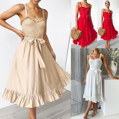 Women's Boho Sleeveless Midi Dress Summer Strappy Belted Evening Party Sundress