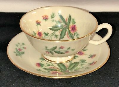 Lenox COUNTRY GARDEN* PINK & YELLOW FLOWERS* CUP & SAUCER * W-302*