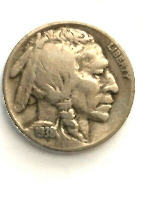 1938D BUFFALO NICKEL 5 Cents of United States of America USA Antique Coin