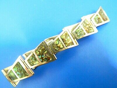 Solid Sterling Silver Marked 925 Mexico Bracelet W Inlaid Abalone Shell Jewelry