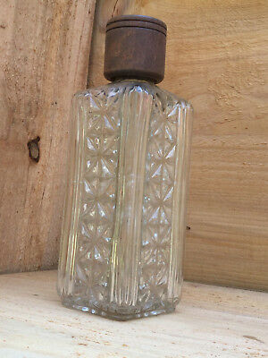 vintage square cut crystal liquor bourbon bottle decanter W/wood screw cap