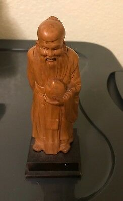 VTG ASIAN Hand Carved Wood Religious Monk Buddhist Coconut beard knot Figurine
